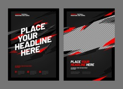 Design of posters with red shards for sports event, competition or championship. Sports background.