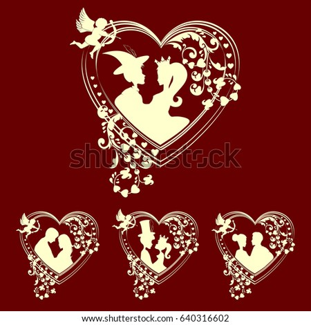 design of silhouettes of hearts