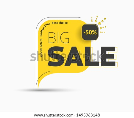 Design of square vector banner with rounded corners on the leg for mega big sales. Yellow tag templates with special offers for purchase, strokes and elements.