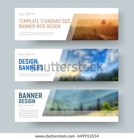 Design of standard white horizontal web banners with space for images and text. Vector illustration. Set #649912654