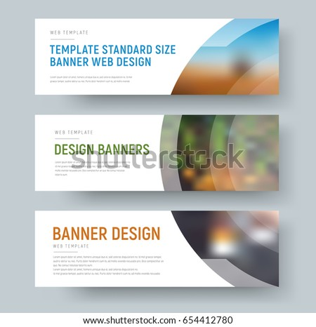 Design of standard white web banners with space for images and text. Horizontal template with a circle and a transparent line. Vector illustration. Set #654412780