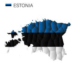 Design of the Estonia map. Vector low-poly map of the country. Icon