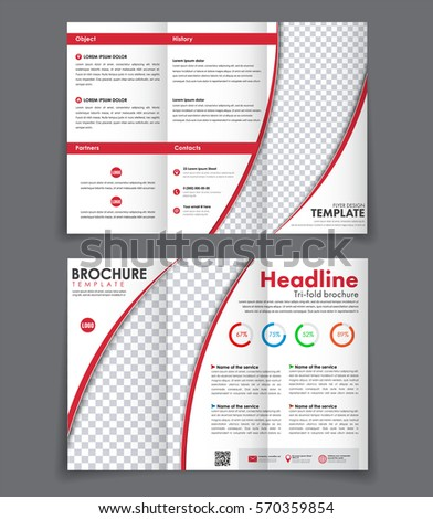 design of the front and back of the booklet triple red elements. Template folding brochure with a place for a photo. Vector illustration #570359854