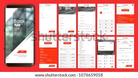 Design of the mobile app UI, UX. A set of GUI screens for mobile banking and bitcoin exchange with login and password input, home page, payment information, ratings and statistics