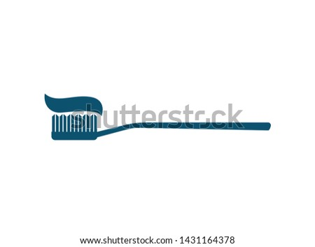 Design of toothpaste and brush icon #1431164378