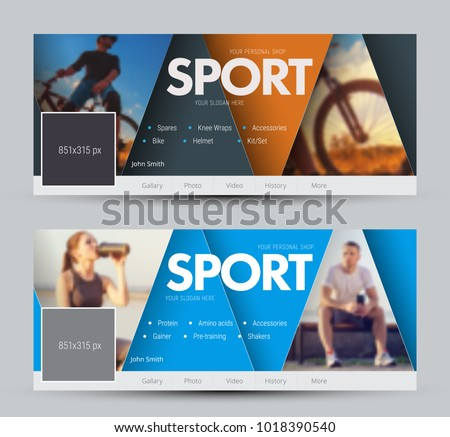 Design of vector banners for social networks with triangles and a place for photos. Cover pattern with orange and blue elements. Sample for sports shops #1018390540
