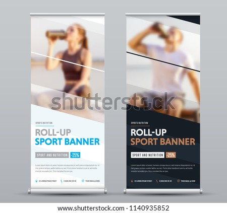 Design of vertical vector roll-up banner with diagonal elements for a photo. Black and white template for business and advertising, a sample for sports nutrition.