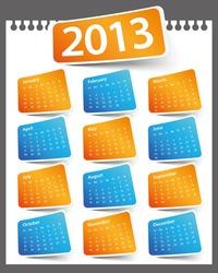Design on a white background color 2013 calendar