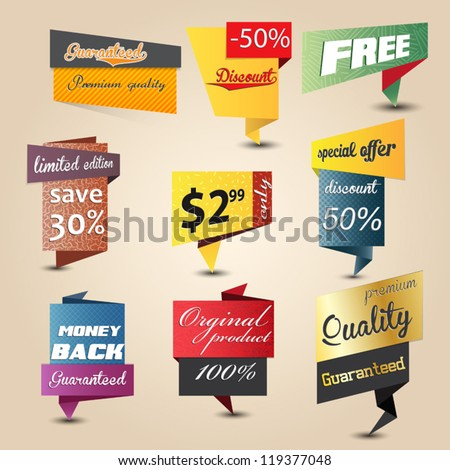 Design origami stickers set Vector