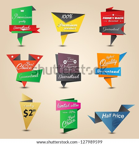 Design origami stickers set. Vector
