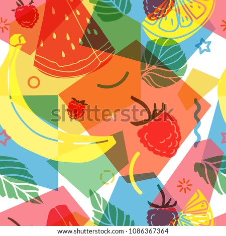 Design pattern for summer season. Abstract background with silhouettes fruit, lemon, strawberry and mint, geometric particle. Nature modern backdrop. Vector