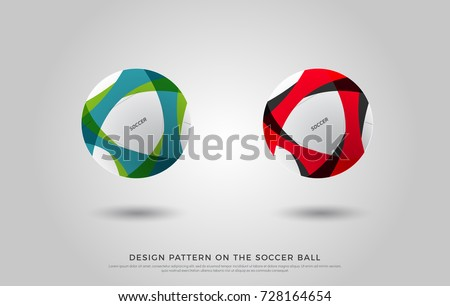 design pattern on the soccer ball. black, blue, green and red color on the football mock up. Ball Vector Illustration