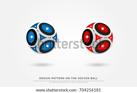 design pattern on the soccer ball. blue, black and red color on the football mock up. Vector Illustration