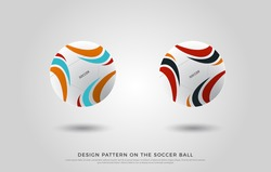 design pattern on the soccer ball. red, orange, black and blue color on the football mock up. Ball Vector Illustration