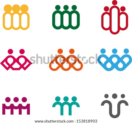 Design people logo element. Vector icon template. You can use in the media, alliances, environmental protection, mutual aid associations and other social welfare agencies.