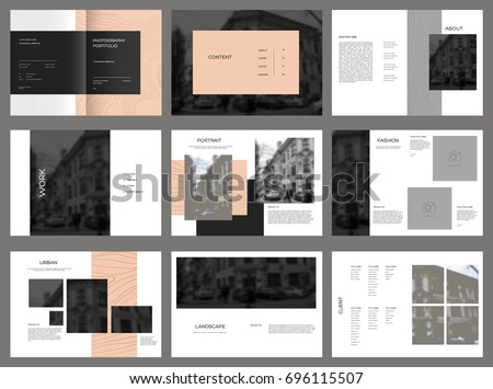 Design Photography Portfolio, vector template brochures, flyers, presentations, leaflet, magazine a4 size. Blue and Red geometric elements on a white background. - stock vector
