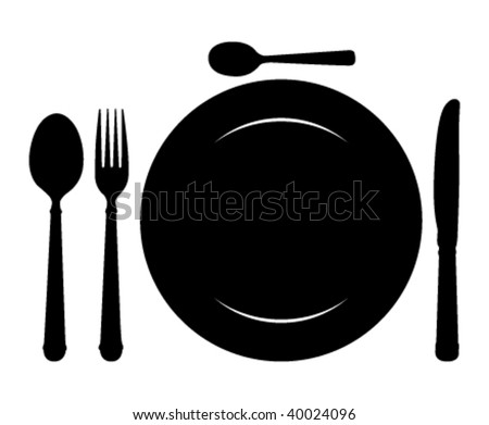 Design place setting with knife, plate,  spoon and fork. Vector illustration.