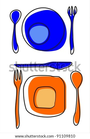 Design place setting with knive, plate, spoon and fork. Vector illustration.
