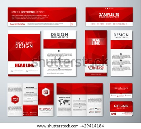 Design polygonal banners, flyers, gift cards, folding brochures and business card. Template red corporate identity of the company for advertising and printing. Vector illustration. Set
