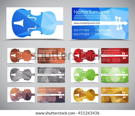 Creative purple business cards download free vector art stock design polygonal business cards for musicians and music stores template with a violin on a reheart Image collections