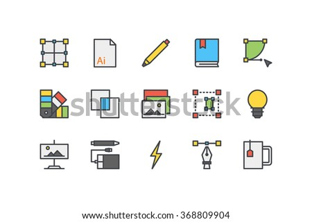 design process color line icons