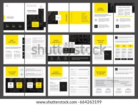 Design Proposal, vector template brochures, flyers, presentations, leaflet, magazine a4 size. Yellow and Black geometric elements on a white background. - stock vector