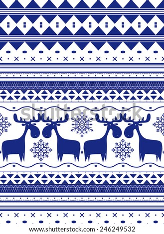 Design reminiscent of the style of the Nordic countries. There are moose, snowflakes and abstract geometric strips.
