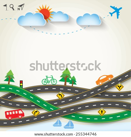 Design road & street with transportation icon set, Vector template background, Ecology concept, Illustration EPS 10.