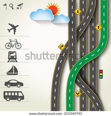 Design road & street with transportation icon set, vector template background, Illustration EPS 10.
