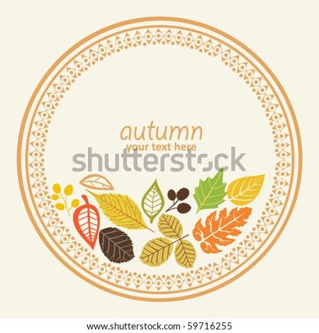 design round element with autumn leaf, vector illustration, decorative round frame.