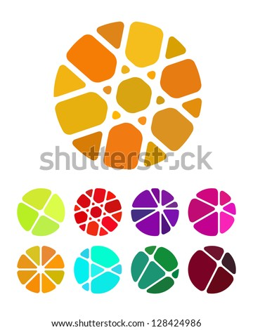 Design round logo element. Crushing abstract circle pattern. Colorful precious stone icons set.