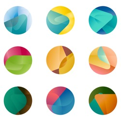 Design round vector logo template. Global world icon set. Colorful ball pattern. You can use in the game, app, communications, electronics, agriculture, or creative design concepts.
