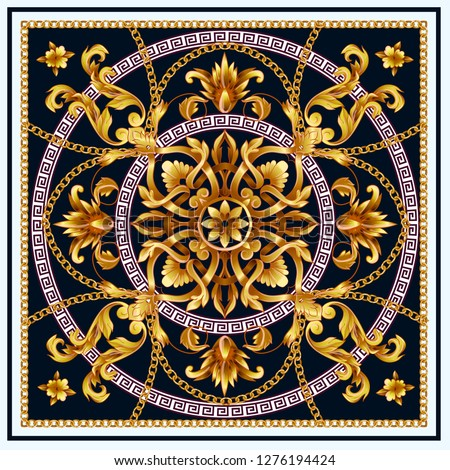 Design scarf with golden baroque elements and chains.