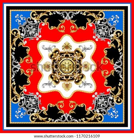 Design scarf with golden baroque elements. Vector illustration.