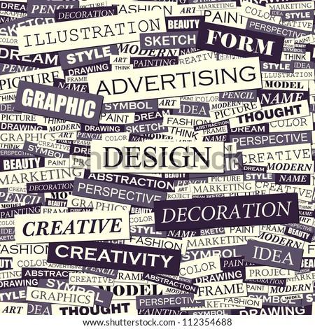 Design. Seamless advertising pattern. Creative graphic design template for designer.