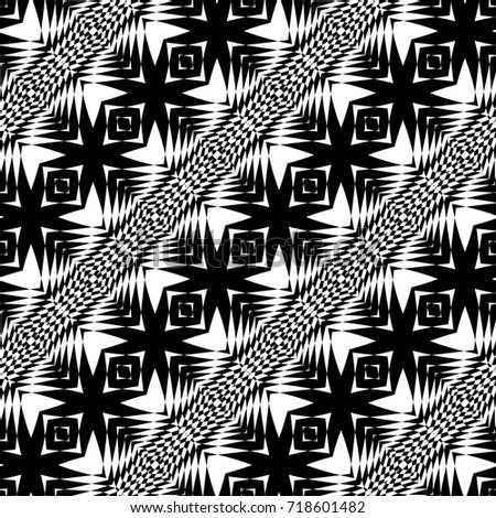 Design seamless monochrome geometric pattern. Abstract illusion background. Vector art. No gradient