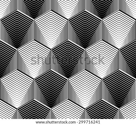 Design seamless monochrome hexagon geometric pattern. Abstract striped zigzag background. Vector art. No gradient