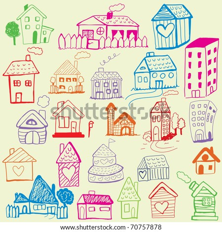 Design set: Child Like Drawn Houses