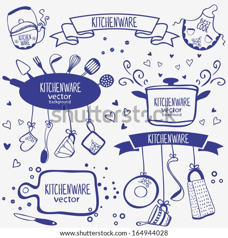 design silhouette of kitchenware doodles collection
