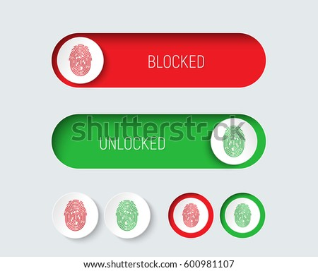 Design sliders and buttons red and green with a fingerprint. Templates for a website or application, to enable or disable protection or blocking. White interface. Vector illustration