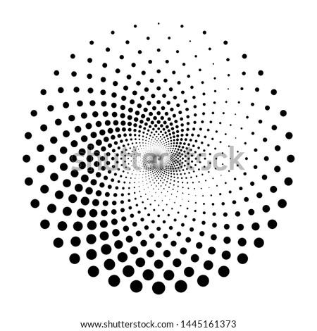 Design spiral dots backdrop. Abstract monochrome background. Vector-art illustration. No gradient Foto stock ©