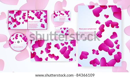 design, stationery set, hearts, bright event romantic honeymoon love celebration vector eps10