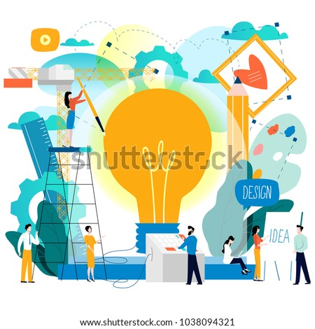 Design studio, designing, drawing, graphic design, education, creativity, art, ideas flat vector illustration. Online courses, tutorials, brainstorming concept for mobile and web graphics