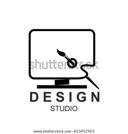 Design studio icon template of computer monitor and paintbrush in paint color pallet. Vector isolated symbol of digital display for illustration or artist and designer school or workshop