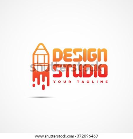 Design studio logo template design. Vector illustration.