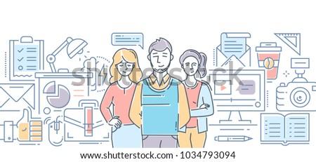 Design studio - modern color line design style illustration on white background. Banner header for your website. Company staff, tools, processes, metaphors
