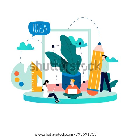Design studio team, designing, drawing, graphic design, creativity, ideas flat vector illustration for mobile and web graphics