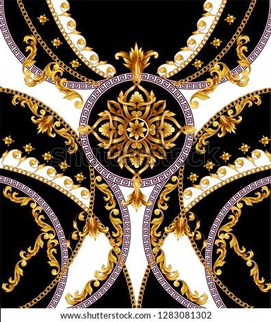 Design t-shirt with golden baroque elements.