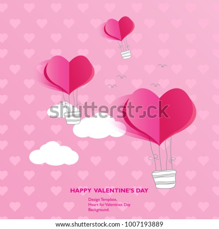 Design Template - Air balloon  Heart for Valentines Day Background. #1007193889