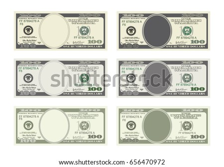Design template 100 Dollars Banknote. Bill one hundred dollars in six options. Suitable for discount cards, leaflet, coupon, flyer, vouchers. Vector in  flat style. USD isolated on white background.